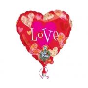 32 inç Floral Hearts Love Müzikli Folyo Balon